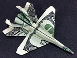 Money Origami Jet Fighter Cash Dollar Art