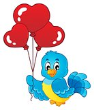 Bird with heart shaped balloons theme 1