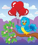 Bird with heart shaped balloons theme 3