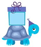 Blue turtle with gift