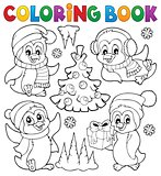 Coloring book Christmas penguins 1