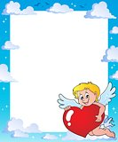 Cupid holding stylized heart frame 1