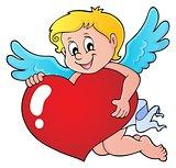 Cupid holding stylized heart image 1