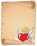 Cupid holding stylized heart parchment 1