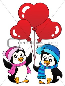 Valentine penguins thematics 1