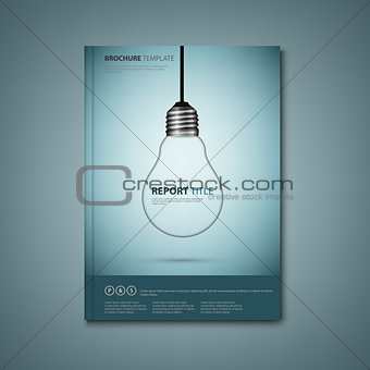 Brochures book or flyer with a design hanging bulb