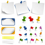 Collection of office supplies labels stickers and pins