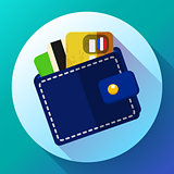 Vector Wallet and Money Icon. wallet with cards