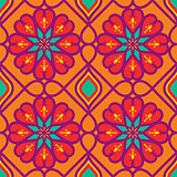 Ethnic Vector Pattern with floral ornament.