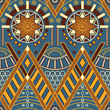 Vector tribal seamless pattern with primitives in Indian or Afri