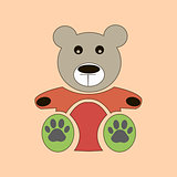 Vector teddy bear icon, flat design. bear dollv