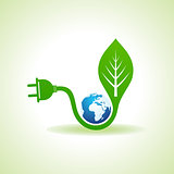 Eco Energy Concept with leaf,plug and earth