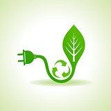 Eco Energy Concept with leaf,plug and recycle icon