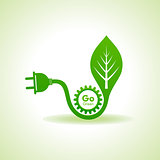 Eco Energy Concept with leaf,plug and gear