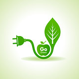 Eco Energy Concept with leaf,plug and green apple