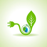 Eco Energy Concept with leaf,plug and water drop