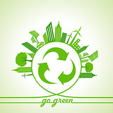Eco Energy Concept with leaf,cityscape and and recycle icon
