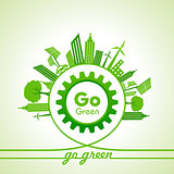 Eco Energy Concept with leaf,cityscape and gear