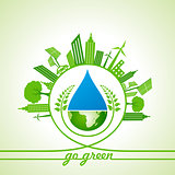 Eco Energy Concept with leaf,cityscape,water drop and earth