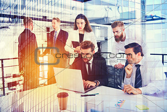 Businessperson in office connected on internet network. concept of partnership and teamwork