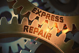 Express Repair Concept. Golden Cog Gears. 3D Illustration.