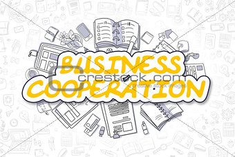 Business Cooperation - Doodle Yellow Text. Business Concept.