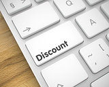 Discount - Text on White Keyboard Button. 3D.