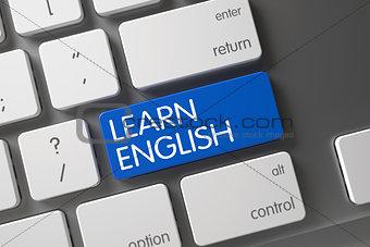 Blue Learn English Key on Keyboard. 3D.