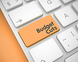 Budget Cuts - Inscription on Orange Keyboard Key. 3D.