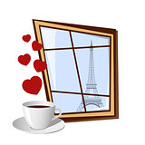Window with view on Eiffel tower