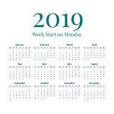 Simple 2019 year calendar