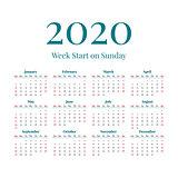 Simple 2020 year calendar
