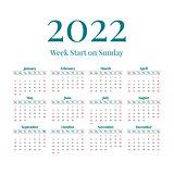 Simple 2022 year calendar