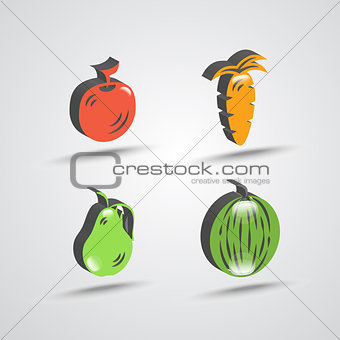 three dimensional fruit icon set
