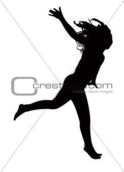 a girl jumping silhouette vector