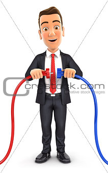 3d businessman plugging two power cords