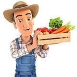 3d farmer holding crate of vegetables