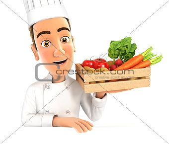 3d head chef holding wooden crate of vegetables