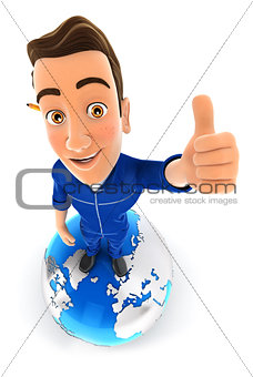 3d mechanic is standing on earth with thumb up