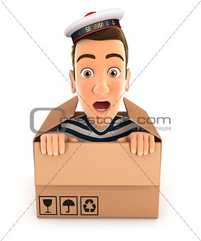 3d seaman hiding inside a cardboard box