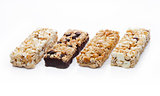 Protein cereal energy bars with nuts and caramel
