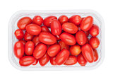 Plastic tray with fresh red grape tomatoes