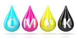 CMYK ink droplets sign. 3D