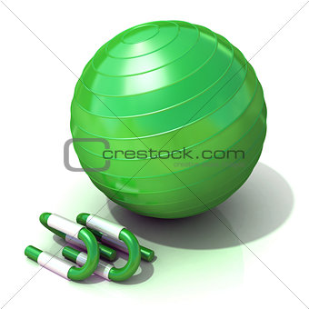 Green fitness ball and push-up bars