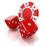 Red gambling chips and dices. 3D