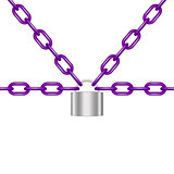 Purple chains locked by padlock in silver design