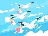 Storks carry babies in beaks