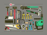 Set of tools for construction and repair