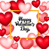 Happy Valentines Day Many Hearts