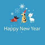 New Years greeting card with funny dogs